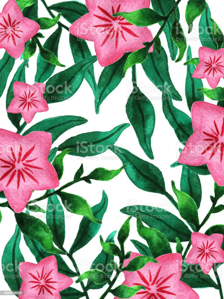 Watercolor Spring Flowers And Leaves Lush Green Vegetation With Pink