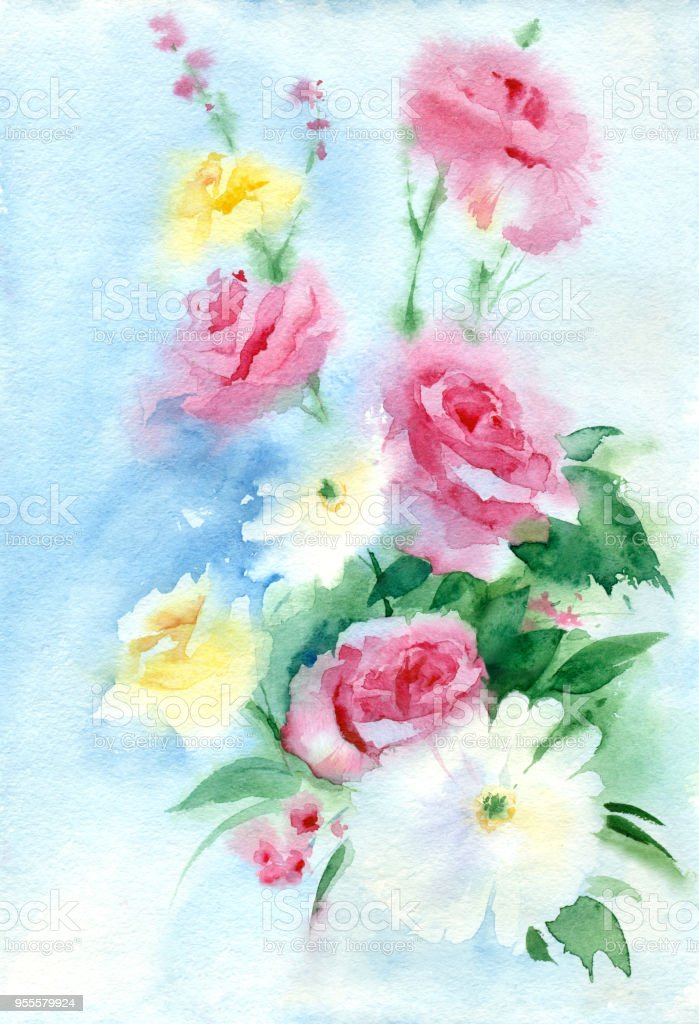 Watercolor Spring Flowers On Blue Background Stock Vector Art More