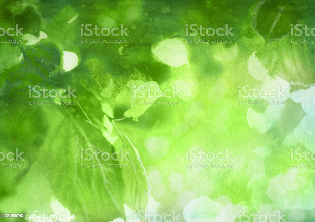 Watercolor spring foliage vector art illustration