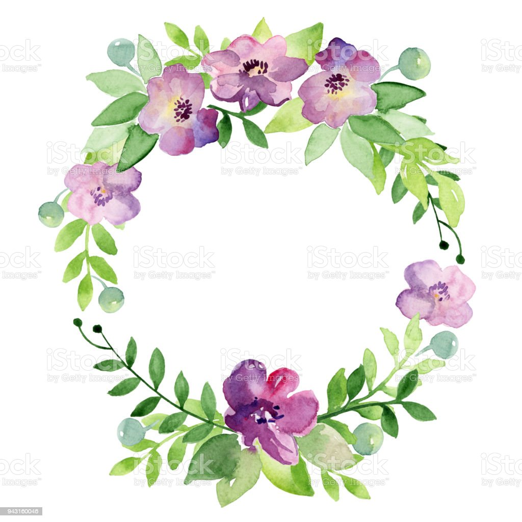Watercolor Spring Or Summer Wreath Coloured Bright Leaves And