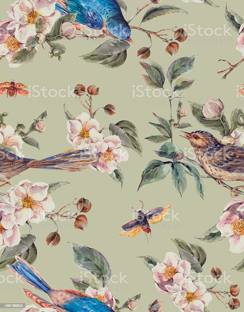 Watercolor Spring Seamless Background with Birds vector art illustration