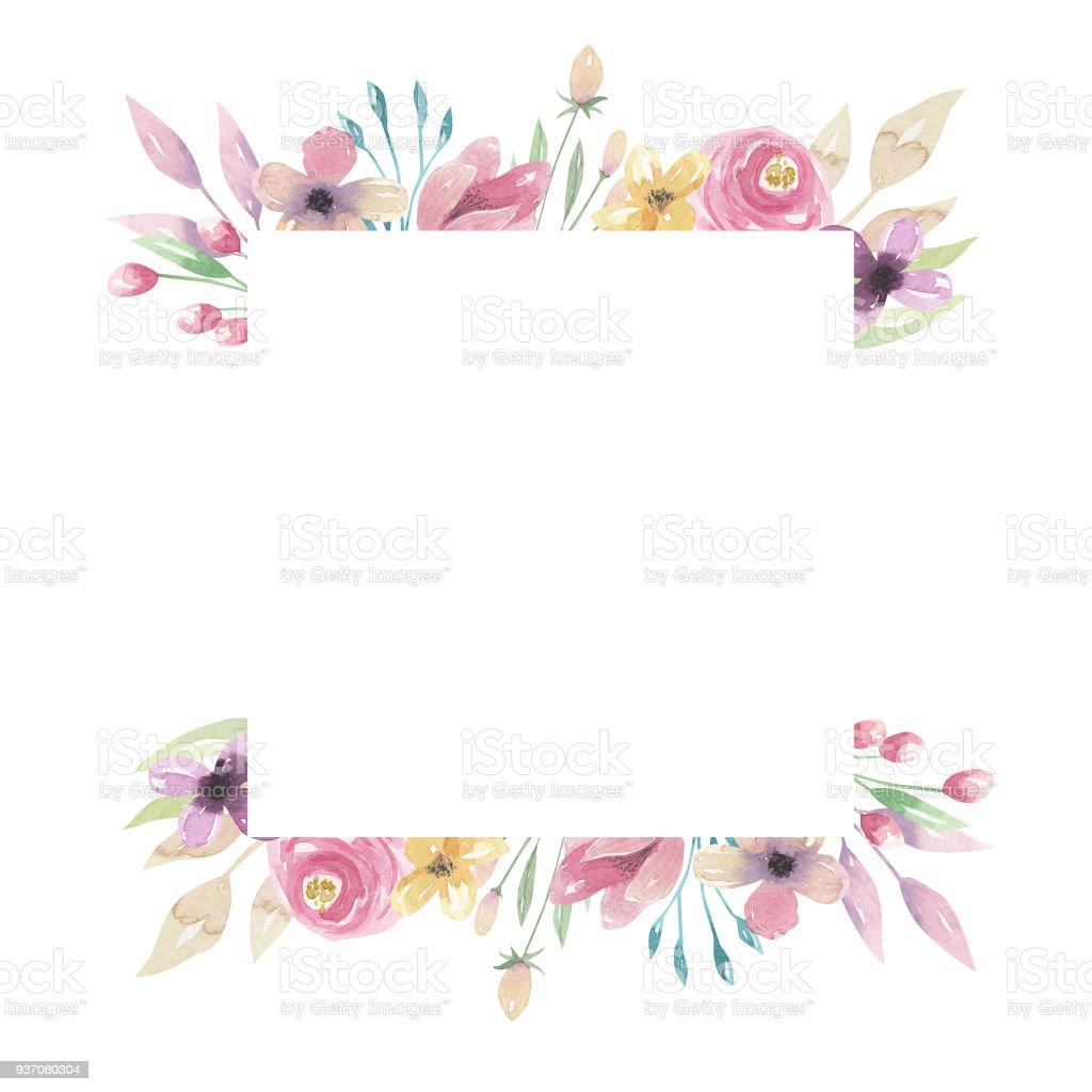 Watercolor Square Florals Pink Purple Border Flowers Frame Pretty