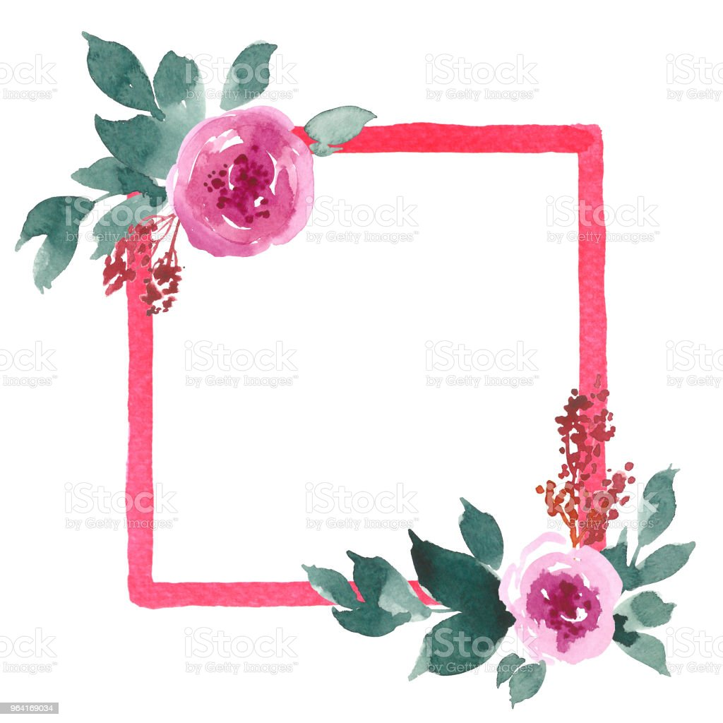 Watercolor Square Frame With Pink Peonies Hand Painted Greeting Card