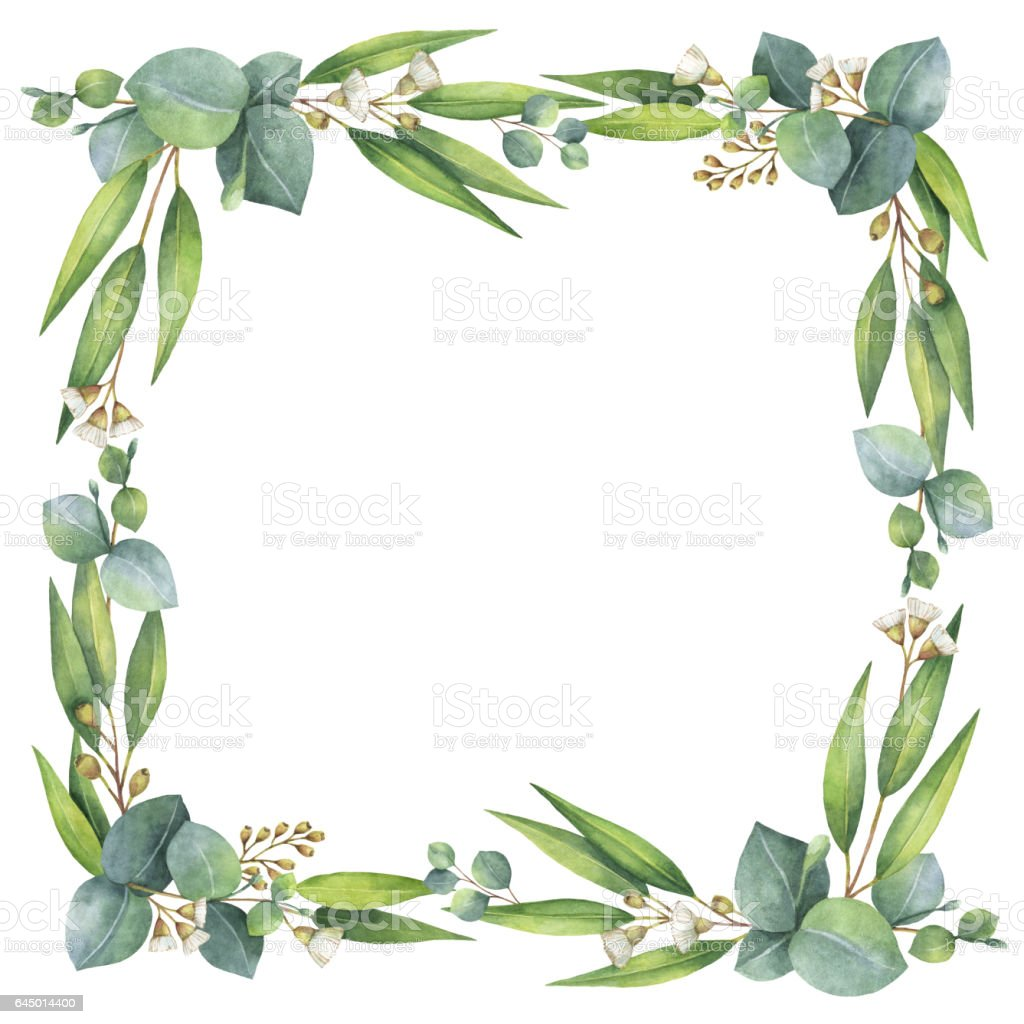 Watercolor square wreath with eucalyptus leaves and for Watercolor greenery