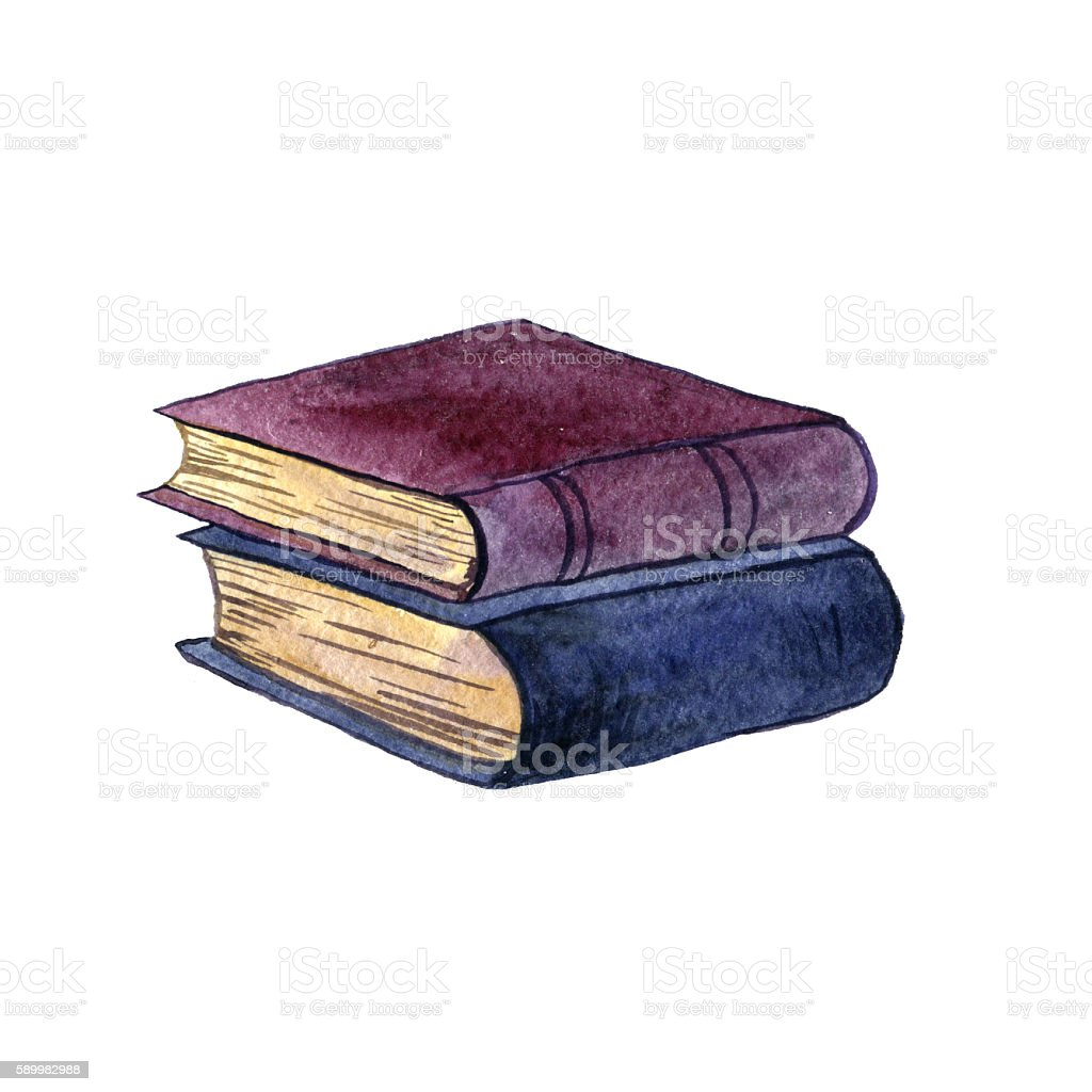 Watercolor Stack Of Old Book Stock Vector Art & More Images of ...