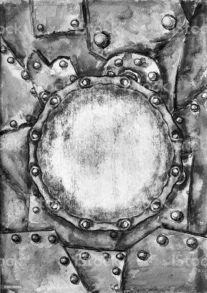 Aquarell Dampfpunk Vereint Grunge Karte Mockup Vektor Illustration ...