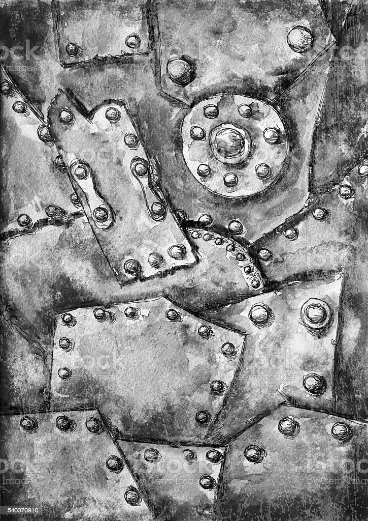 Watercolor Steam Punk Grunge Texture Hand Drawn Background Stok