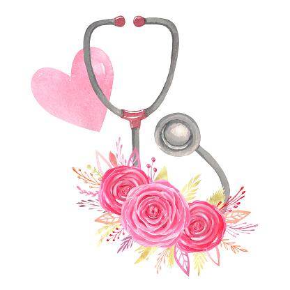Watercolor stethoscope floral arrangement red heart on white background Sublimation design Nurse's life