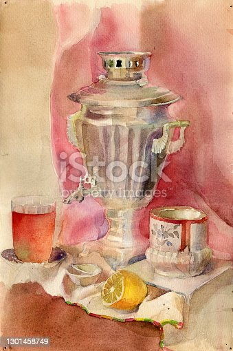 Watercolor still life illustration with glass of tea, cupronickel samovar, vintage sugar bowl, lemon on a saucer and a rosette with jam on a pink purple drapery background. Colorful illustration for recipe-book cover, food menu brochure