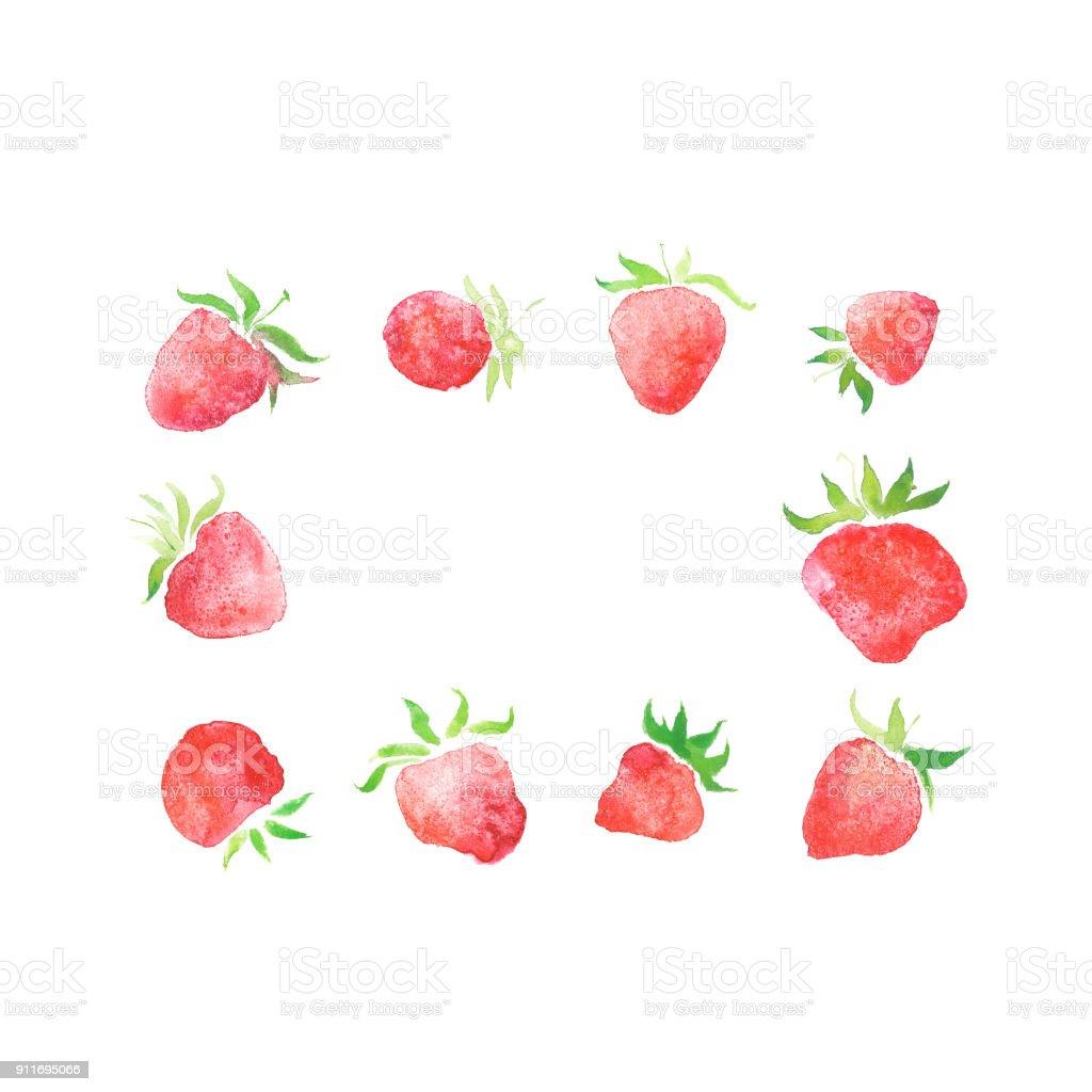 Aquarell Erdbeeren Gerahmt Hochzeit Beere Rustikal Kranz Stock ...