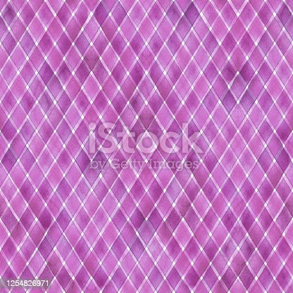 Watercolor stripe diagonal plaid seamless pattern. Pink purple stripes on white background. Watercolour hand drawn striped texture. Print for cloth design, textile, fabric, wallpaper, wrapping, tile.