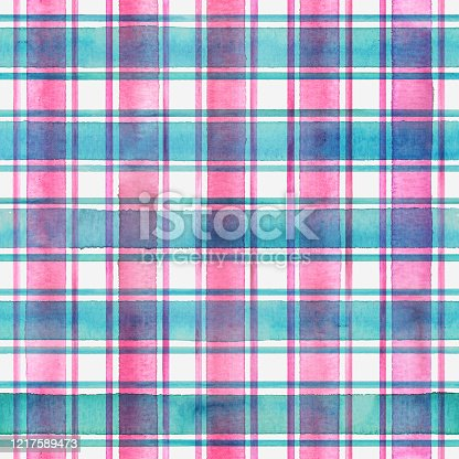 Watercolor stripe plaid seamless pattern. Colorful teal blue pink stripes background. Watercolour hand drawn striped texture. Print for cloth design, textile, fabric, wallpaper, wrapping, tile.