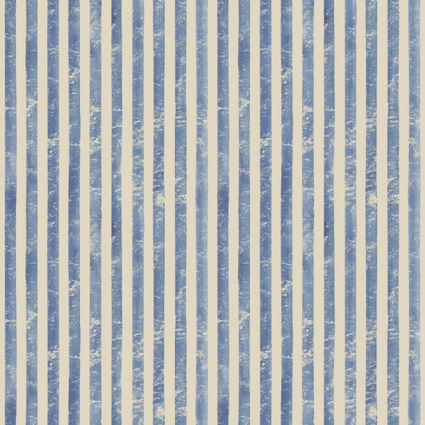 ilustrações, clipart, desenhos animados e ícones de padrão sem costura vintage de listras em aquarela. fundo das listras azuis - texturas desgastadas