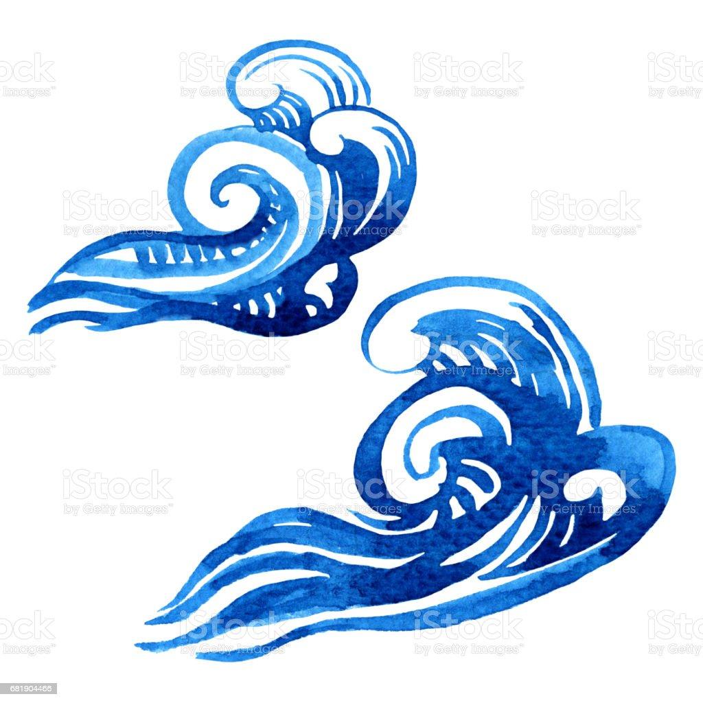 Aquarelle Stylisee Dune Vague De La Mer Deux Elements De Dessin