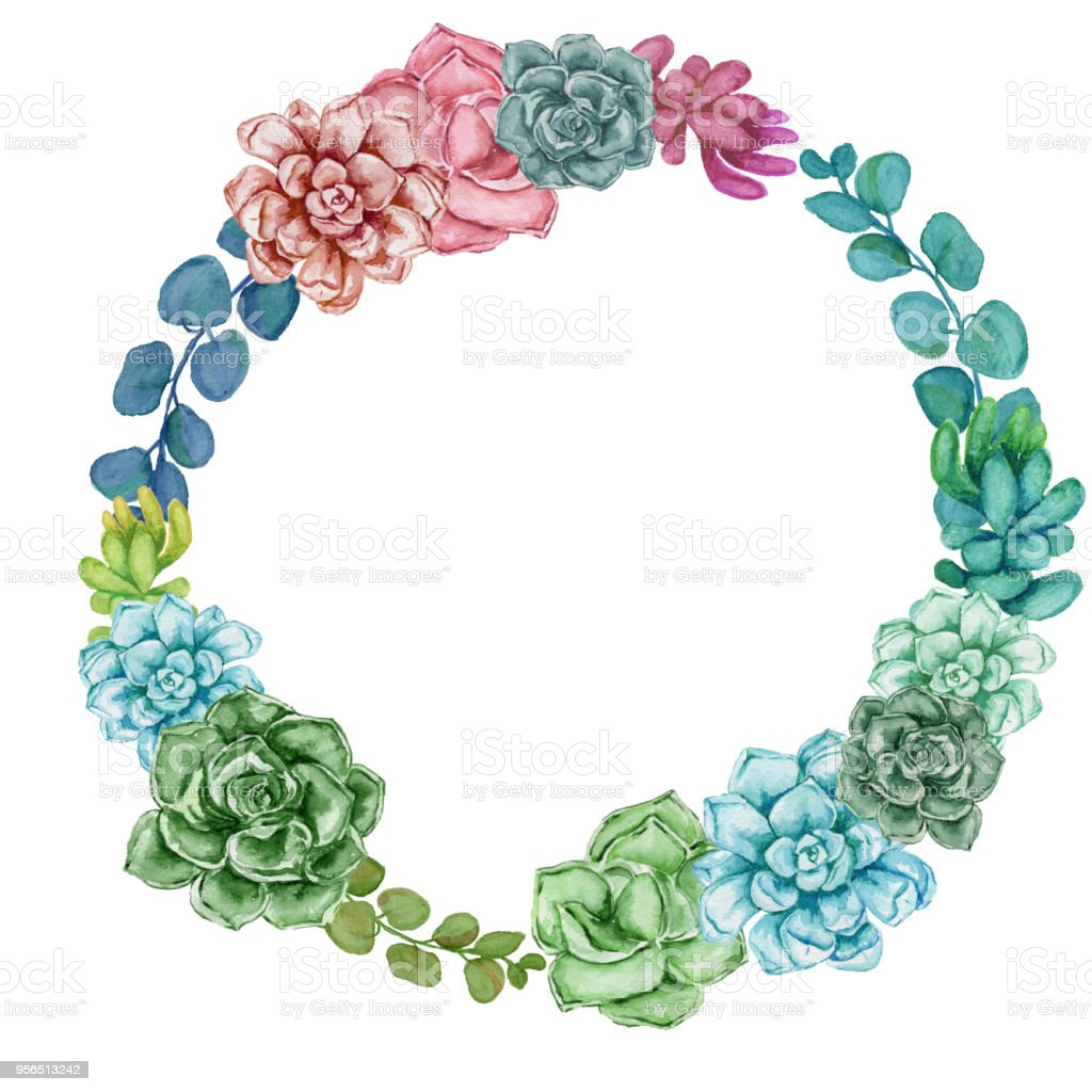 Watercolor Succulent Wreath Stock Illustration Download Image Now Istock