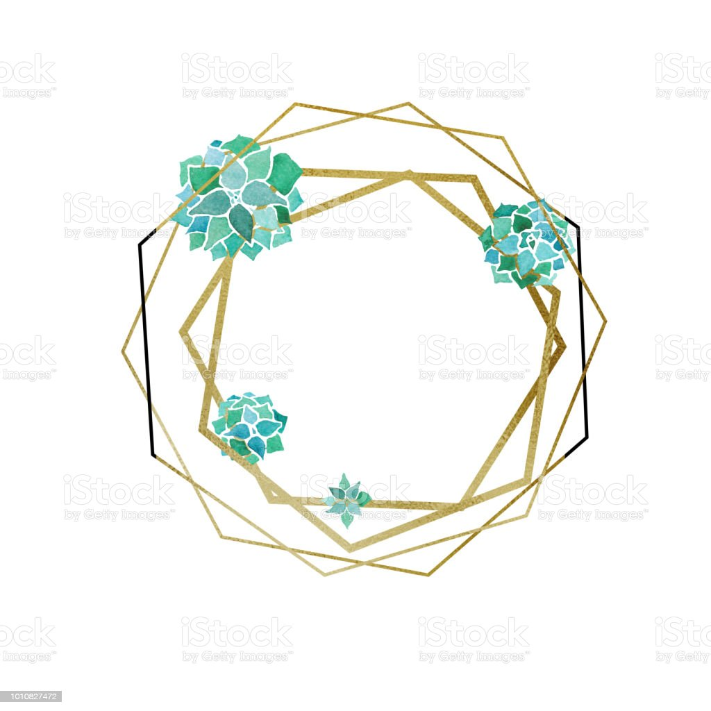 Watercolor succulents and golden hexagon and poligons geometrical minimalist frame vector art illustration