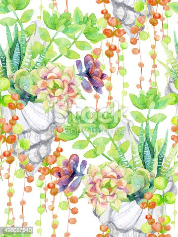 Watercolor succulents seamless pattern. Hand painted raster illustration