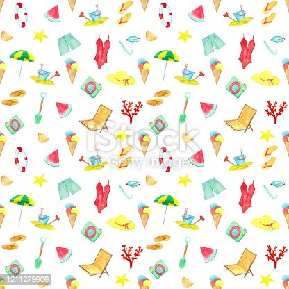Hand-drawn watercolor summer elements seamless pattern on white background. Swimsuit, lifebuoy, umbrella, chair, hat, flip flops, bucket, mask, waves, ice cream, shorts, shell, watermelon, coral endless print.