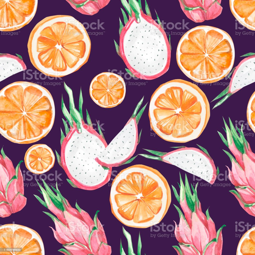watercolor summer exotic fruit pattern orange and dragon fruit summer illustration id1163516933