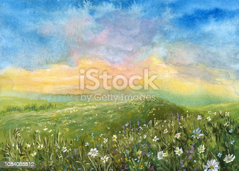 istock Watercolor summer landscape 1084088812