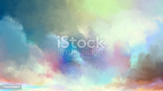 painted sky with light clouds in soft pastel colors