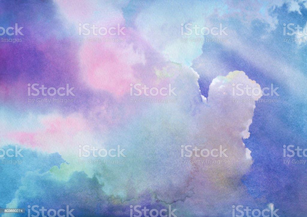 Watercolor summer sky vector art illustration