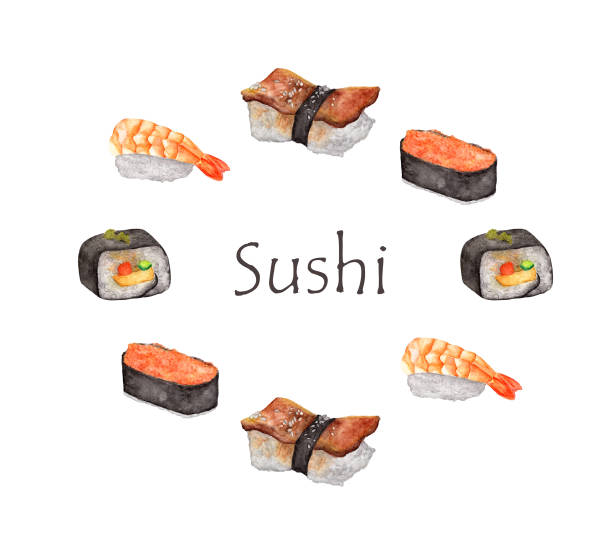 Watercolor Sushi frame. Round frame with hand draw Japanese food. vector art illustration