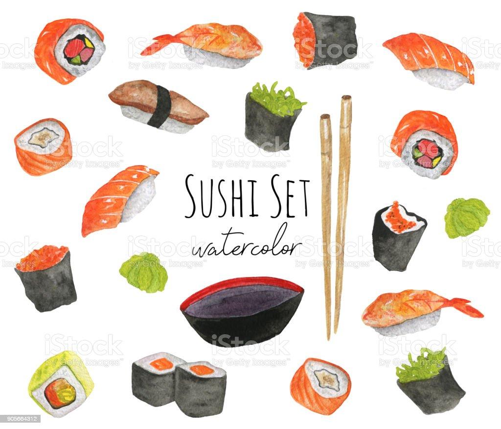 水彩画のお寿司セットです食べ物の手描きイラスト えび握りのベクター