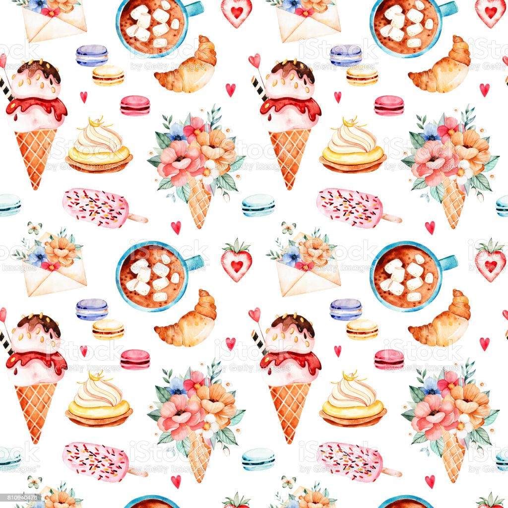 Watercolor sweets background with ice cream, cupcake, bouquet in waffle vector art illustration