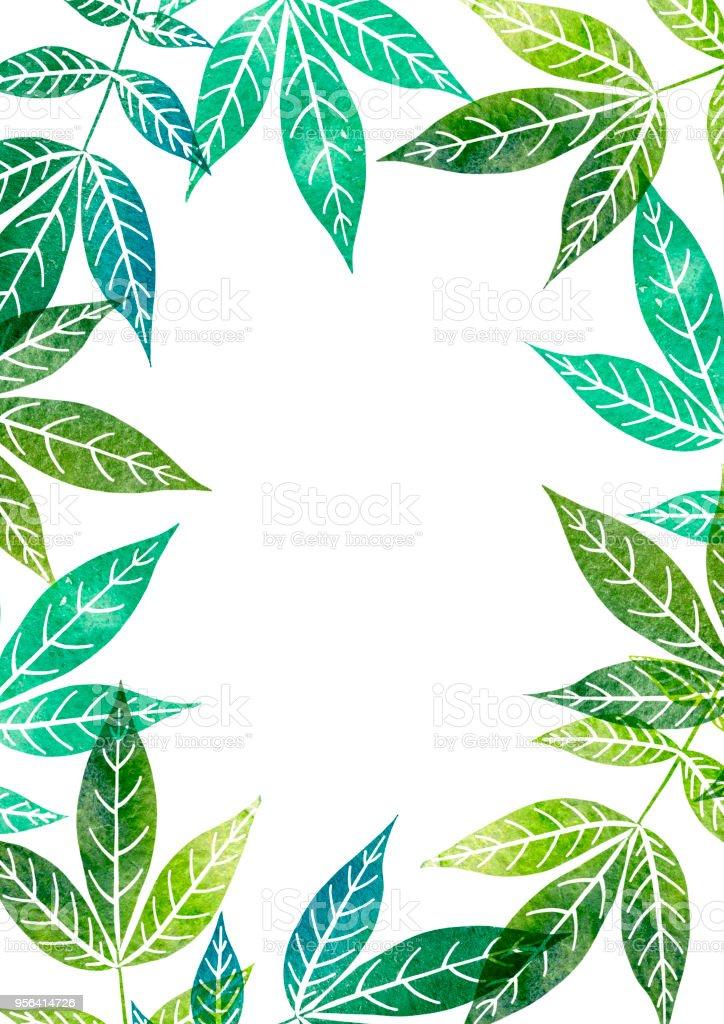 Ilustración De Plantilla De Acuarela Con Hojas De Los árboles Y Más