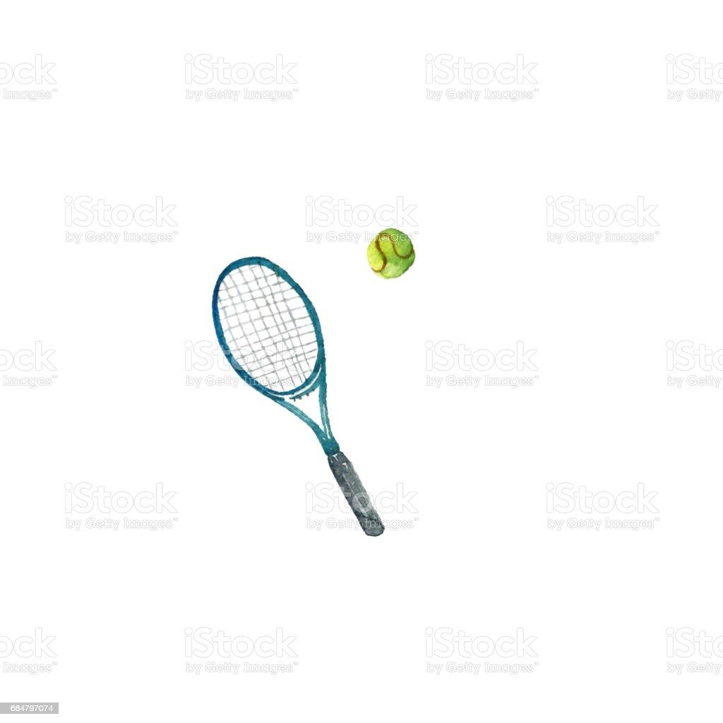 watercolor tennis racquet vector art illustration