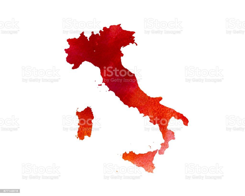 Sulu Boya Doku Italya Haritasi El Cizimi Boyali Stok Vektor Sanati