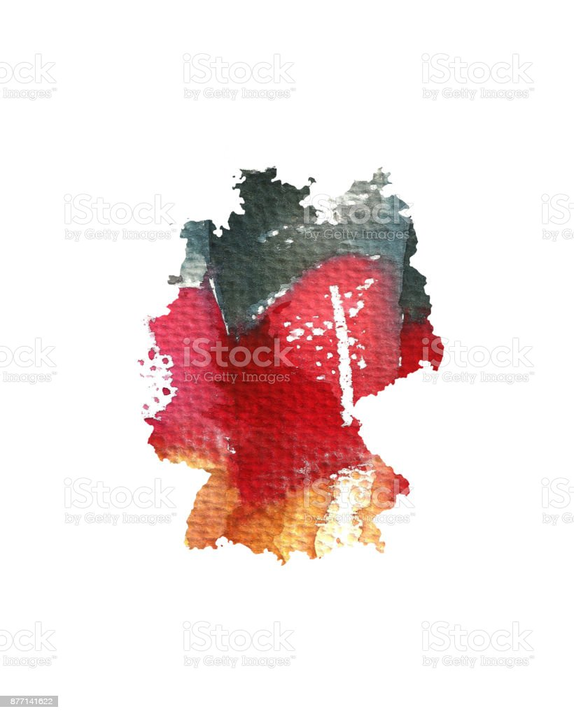 Sulu Boya Doku Almanya Bayrağı Almanya Haritası El çizimi Boyalı