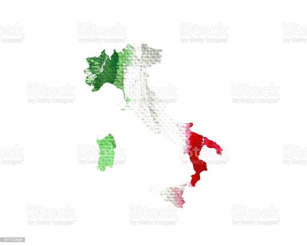 Sulu Boya Doku Italya Bayrağı El çizimi Boyalı Stok Vektör Sanatı