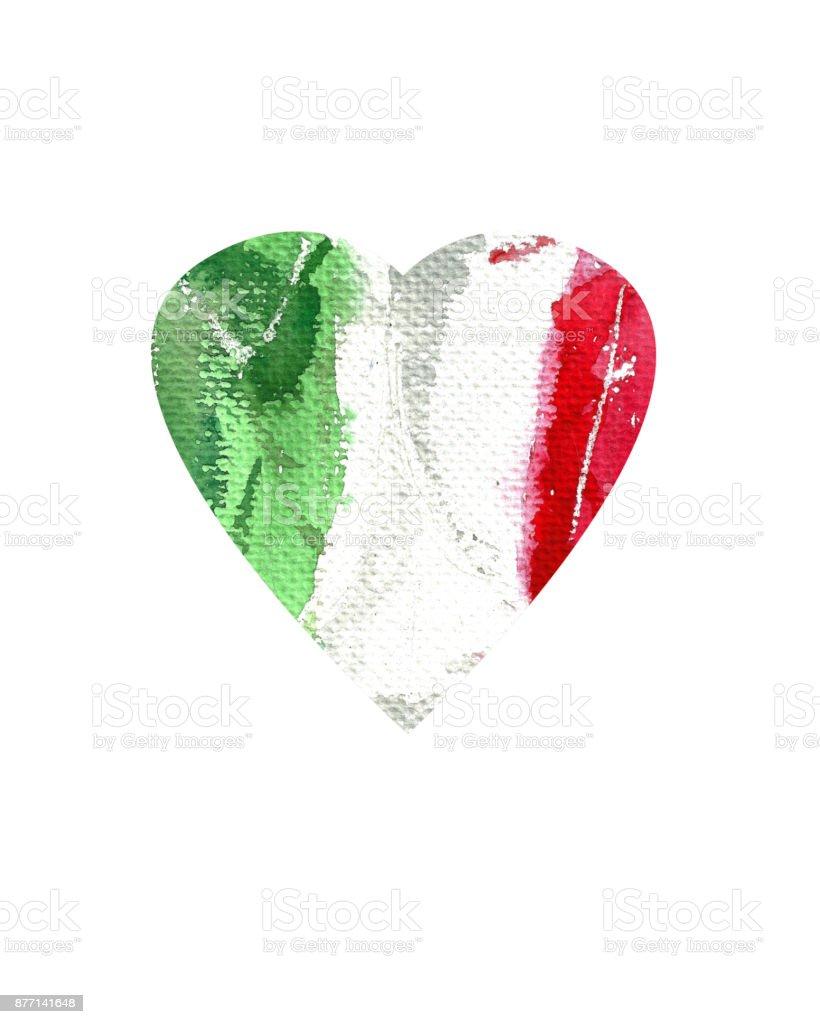 Sulu Boya Doku Italya Bayrağı El çizimi Boyalı Kalp şeklinde Stok