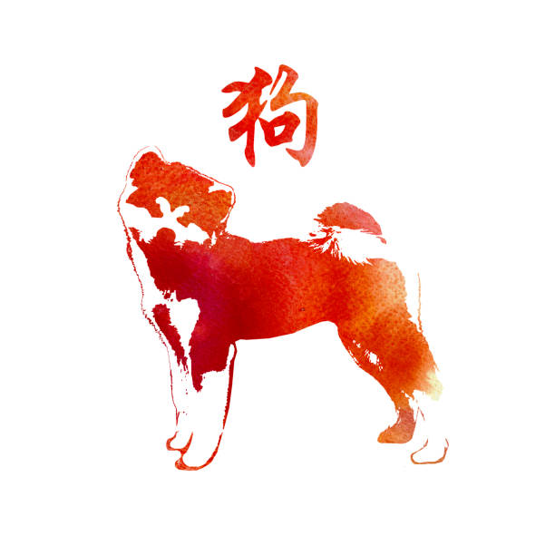 Watercolor Textured Dog. Happy Chinese New Year 2018 Card. Chinese Word Mean Dog. – artystyczna grafika wektorowa