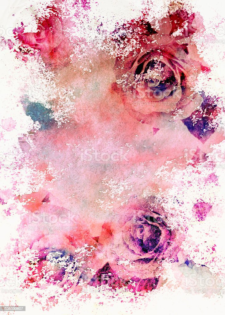 Watercolor toned roses greeting card vector art illustration