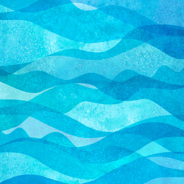 Watercolor transparent sea ocean wave teal turquoise colored background. Watercolour hand painted waves illustration Watercolor transparent sea ocean wave blue teal turquoise colored background. Watercolour hand painted waves illustration. Banner frame backdrop splash design. Grunge color cover. Space for logo, text sea stock illustrations