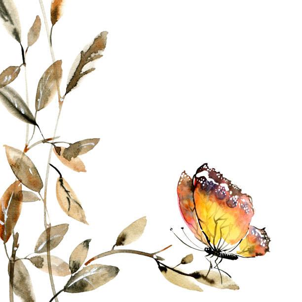 illustrazioni stock, clip art, cartoni animati e icone di tendenza di watercolor tree leaves and butterfly - farfalla ramo