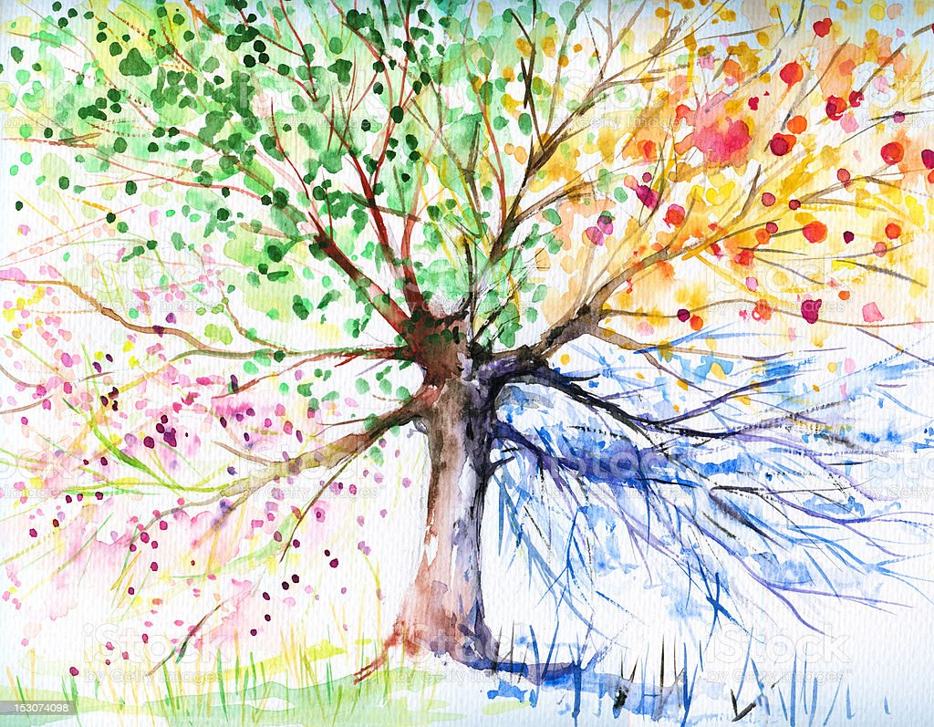 Watercolor tree with blue yellow green and pink branches royalty-free stock vector art
