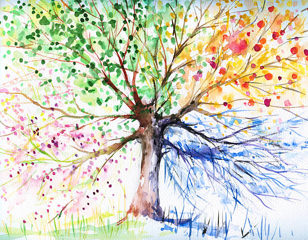 watercolor tree with blue yellow green and pink branches - four seasons stock illustrations