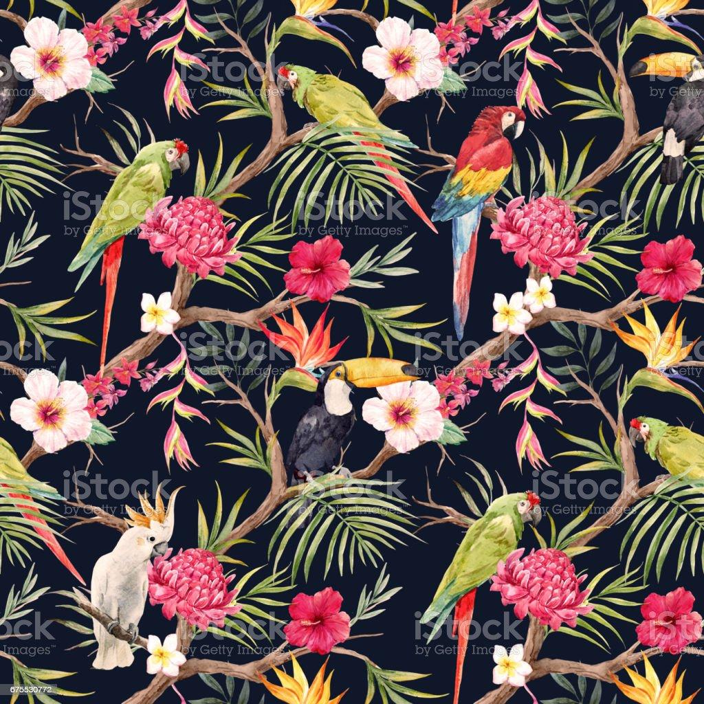 Aquarelle motif fleuri tropical aquarelle motif fleuri tropical – cliparts vectoriels et plus d'images de abstrait libre de droits