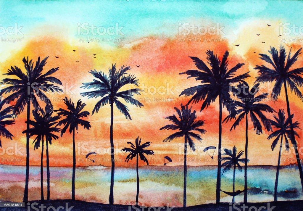 Acuarela paisaje tropical - ilustración de arte vectorial