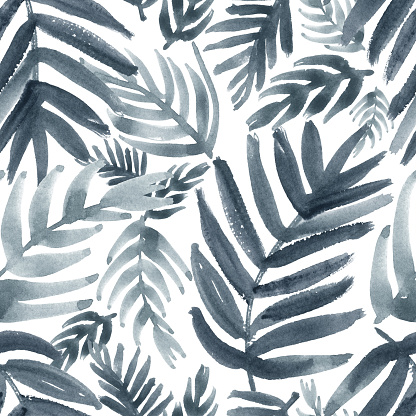 Watercolor tropical leaves print in shades of bluish gray. Seamless pattern.