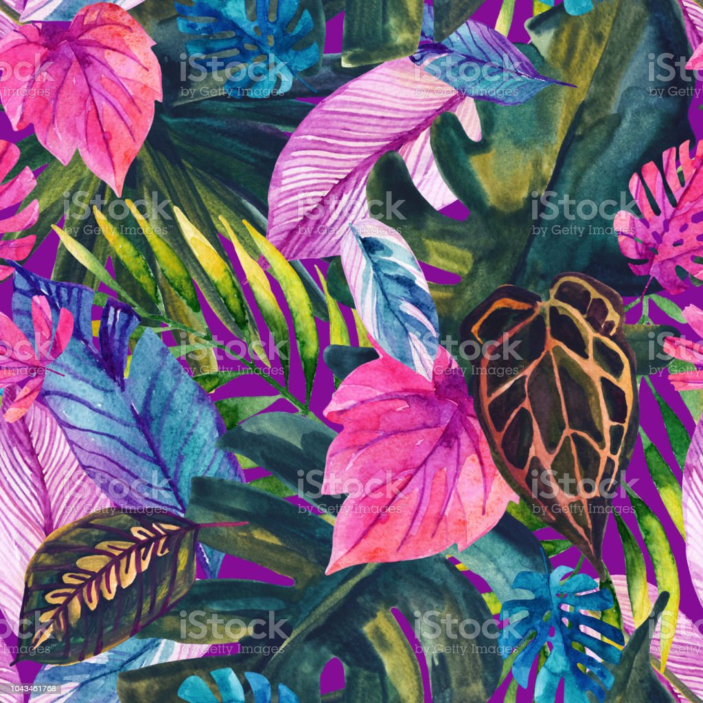 Watercolor Tropical Leaves Seamless Pattern Stock Illustration Download Image Now Istock Choose from 600+ tropical leaves graphic resources and download in the form of png, eps, ai or psd. https www istockphoto com vector watercolor tropical leaves seamless pattern gm1043461768 279307203