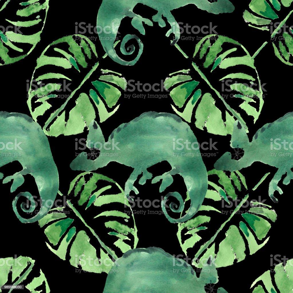 水彩の熱帯のヤシの葉カメレオン手描きのシームレスなパターンの