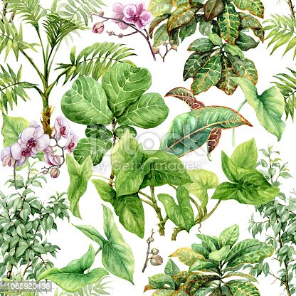 Hand drawn branches and leaves of tropical plants. Seamless pattern made with watercolor exotic green rainforest foliage and pink orchid flowers on white background.