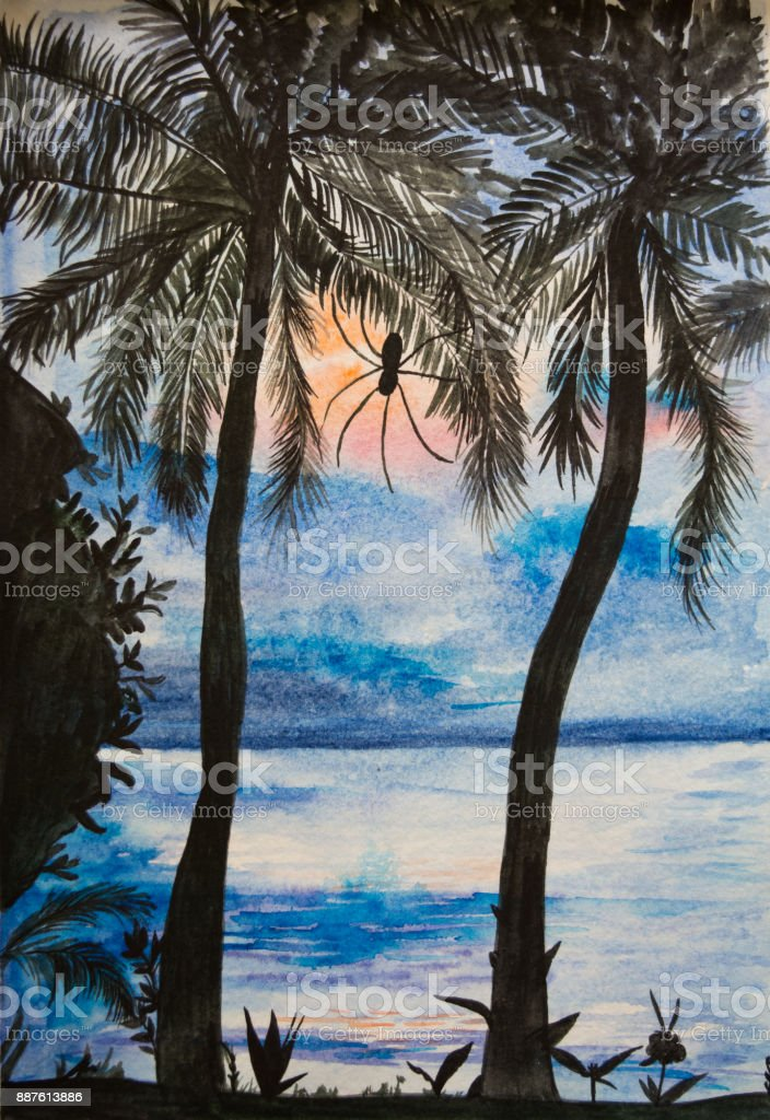 Watercolor tropical sunset. Watercolor painting. Illustration of sunset at the tropical beach with palms and spider. vector art illustration
