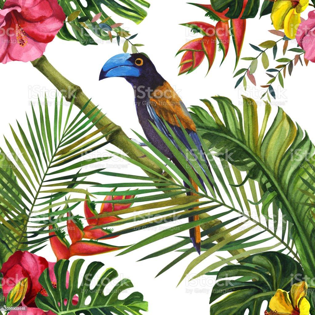 Modele Sans Couture Aquarelle De La Faune Tropicale La Main Dessinee