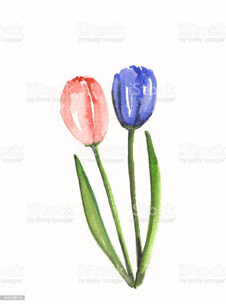 Sulu Boya Lale çiçek Arka Plan Stok Vektör Sanatı Arka Planlarnin